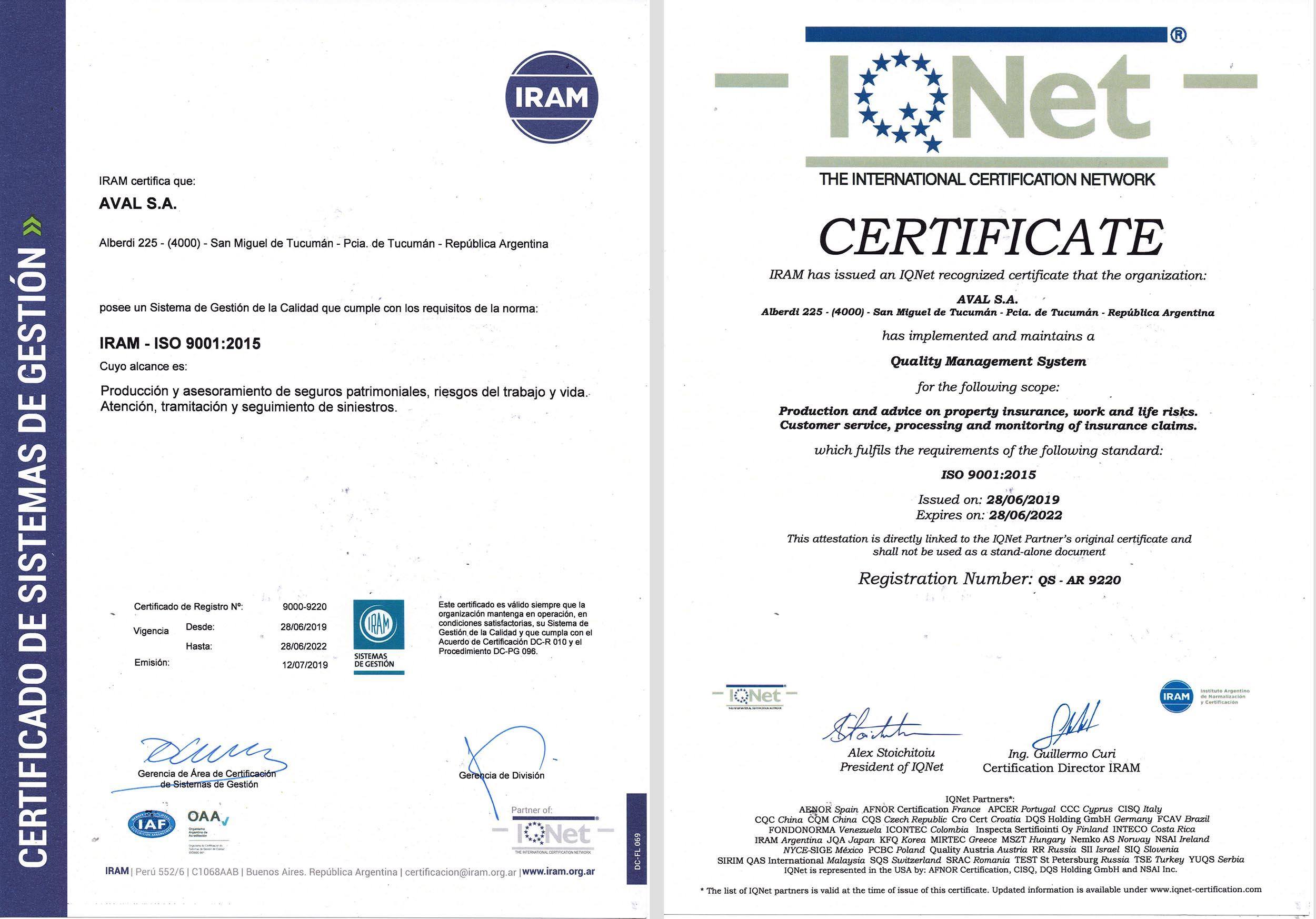 Certificados IRAM ISO